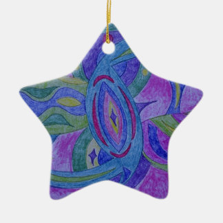 Funky, retro zentangle design christmas tree ornament