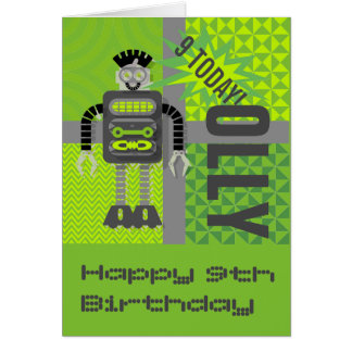 Funky Robot Name/Age Customisable Card