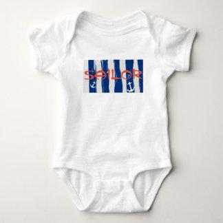 Funky Sailor Blue White Stripes Anchors Bodysuit