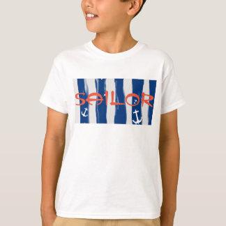 Funky Sailor Blue White Stripes Anchors T-Shirt