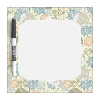 Funky Screen Print Flowers in Pastel Colors Dry Erase Board