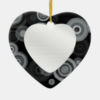 Funky Scribble Circles Ceramic Heart Ornament