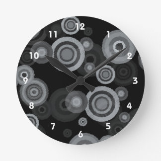 Funky Scribble Circles Round Clock