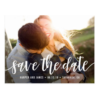 Funky Script Modern Save The Date Postcard