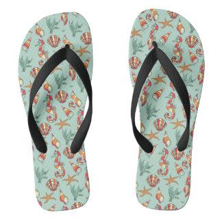 Funky Seashells & Seahorses Designer Flip Flops