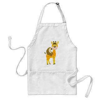 Funky Sloth Riding a Giraffe Cartoon Standard Apron