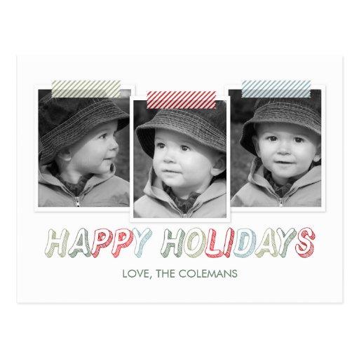 Funky Snapshots Holiday Photo Card Postcard Postcard
