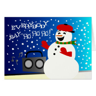 Funky Snowman Rapping, Happy Holidays Card