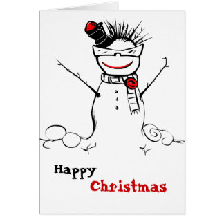 funky snowman with glasses greeting card