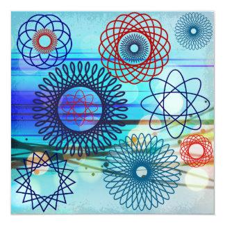 "Funky Spirograph Geometric Pattern Blue Design 5.25"" Square Invitation Card"