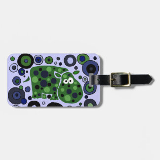Funky Spotted Hippo Art Design Luggage Tag