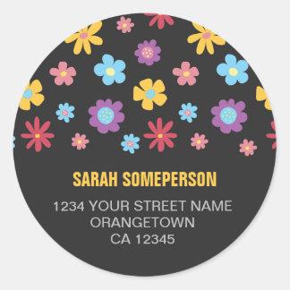 Funky Spring Flower Pattern Return Address Round Sticker