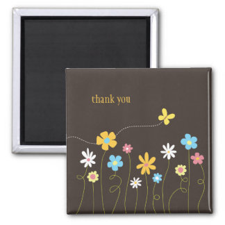 Funky Spring Flowers Thank You Square Magnet