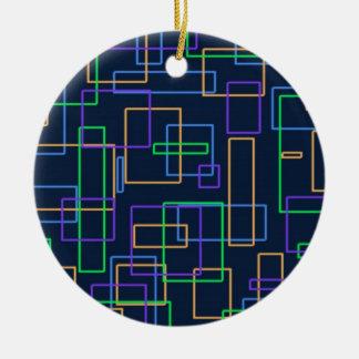 Funky Squares Round Ceramic Ornament