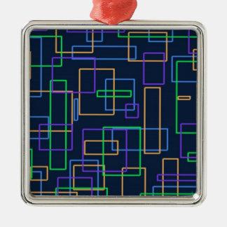 Funky Squares Silver-Colored Square Ornament