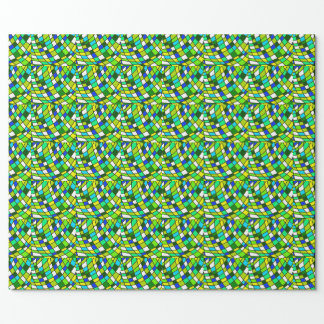 Funky Stained Glass Gift Wrap, Green and Blue