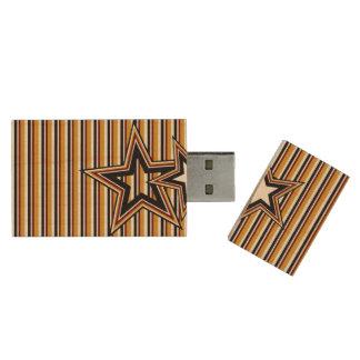 Funky Star and Stripes 8GB 2.0 Wood USB Flash Drive