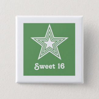 Funky Star Sweet 16 Button, Kelly Green 2 Inch Square Button