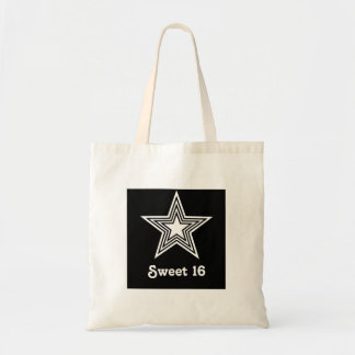 Funky Star Sweet 16 Swag Bag, Black and White Budget Tote Bag