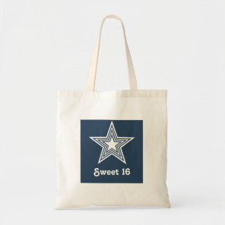 Funky Star Sweet 16 Swag Bag, Dark Blue Budget Tote Bag