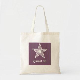 Funky Star Sweet 16 Swag Bag, Purple Budget Tote Bag