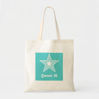 Funky Star Sweet 16 Swag Bag, Turquoise Budget Tote Bag