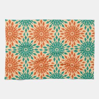 Funky Starburt Teal & Orange Design Kitchen Towel