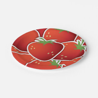 Funky strawberries 7 inch paper plate