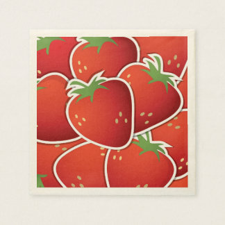 Funky strawberries paper napkin
