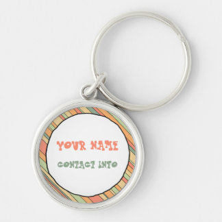 Funky Stripes ID tag Silver-Colored Round Keychain