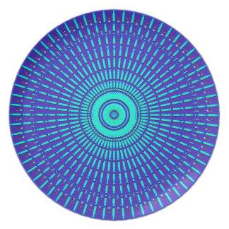 Funky Style Blue Pattern Melamine Dinner Plate