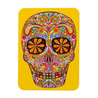 Funky Sugar Skull Day of the Dead Magnet