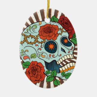 Funky Sugar Skulls Dia de los Muertos Ceramic Oval Ornament