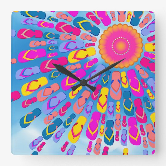 Funky Summer Sun Flip-Flops Rays Wall Clock