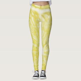 Funky summer yellow lemon leggings