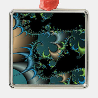 Funky Swirling Spirals Teal Black Fractal Art Silver-Colored Square Ornament