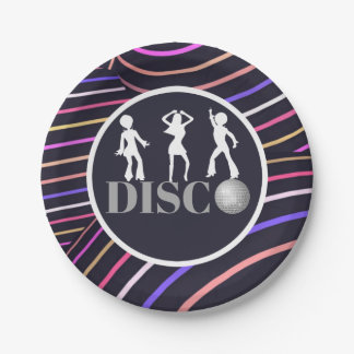 Funky Swirls Disco Theme 70's Party Paper Plate