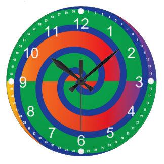 Funky Swirls Pattern Color Splash Large Clock