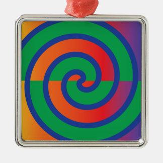 Funky Swirls Pattern Color Splash Silver-Colored Square Ornament