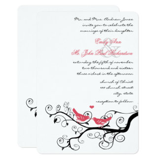 Funky Swirly Pink Love Bird Tree Wedding Invites