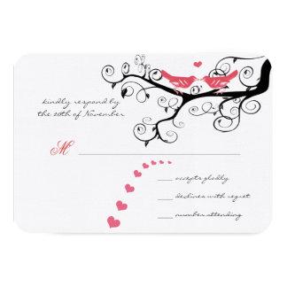 Funky Swirly Pink Love Bird Tree Wedding  RSVP Card