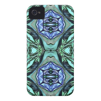 Funky Teal Lilac Artistic Pattern iPhone 4 Case-Mate Case