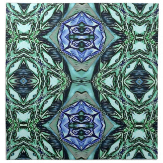 Funky Teal Lilac Artistic Pattern Napkin