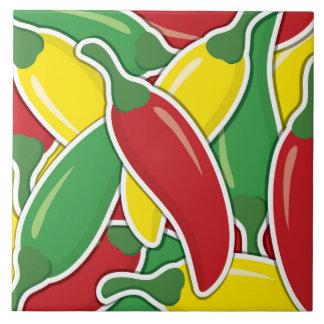 Funky traffic light chilli peppers ceramic tiles