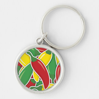 Funky traffic light chilli peppers Silver-Colored round keychain