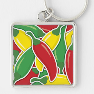 Funky traffic light chilli peppers Silver-Colored square keychain