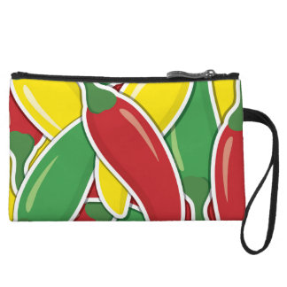 Funky traffic light chilli peppers wristlet clutch