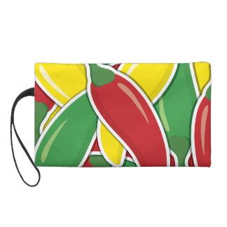 Funky traffic light chilli peppers wristlet purse