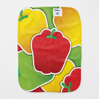 Funky traffic light peppers burp cloth