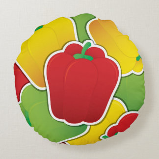 Funky traffic light peppers round pillow